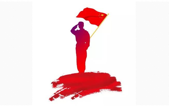 军人在敬礼,红色国旗.JPG